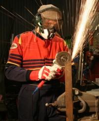 Ralph Hosier with grinder
